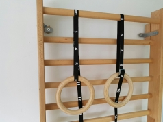 Wooden gymnastic rings with straps, code 1163-strap