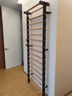 Stall bar metal/wood, 15 Rungs, 7 feet, 6 1/2 inches x 2 feet, 11 1/2 inches, code 221-M/Black