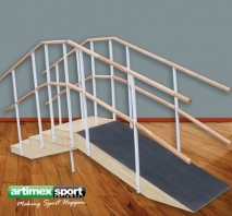 Stairs and metal ramp with double handrail,code WMM175-Double