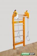 L'ensemble composé espalier girafe Anneaux en bois avec corde,ref 268