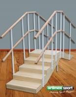 Reha Übungstreppe mit Handlauf, Gerade Ausführung, WMM175-Doppel