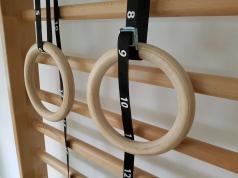 ロープ付きの木製体操つり輪、コード1163-つり輪