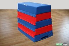Trapez-Sprungkasten blau/rot, 120 x 100 x 75 cm, 5-teilig,Artikel nr 219-Schaumstoff